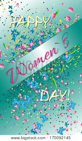 Greeting card on Woman`s day. Gradient background with flowers and butterflies and inscription on the diagonal tape.