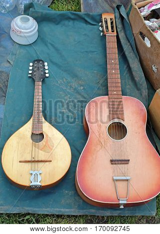 Second Hand Mandola and Guitar For Sale at Flea Market