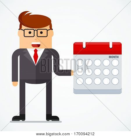 Successful businessman with calendar, business situation concept. Working in office, desire to succeed, teamwork and management. Flat vector cartoon illustration. Objects isolated on white background.