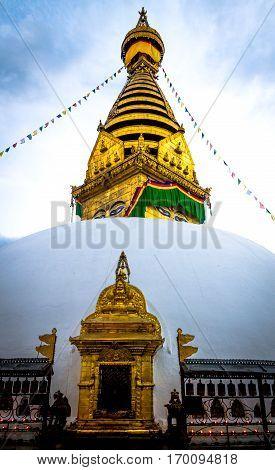 Golden view of Swayambhunath Stupa Kathmandu Nepal.