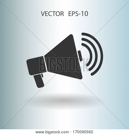 Flat icon of megaphone. vector illustration