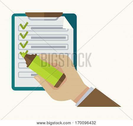 Man draws check marks in tasks list on notepad with highlighter marker. Business vector illustration