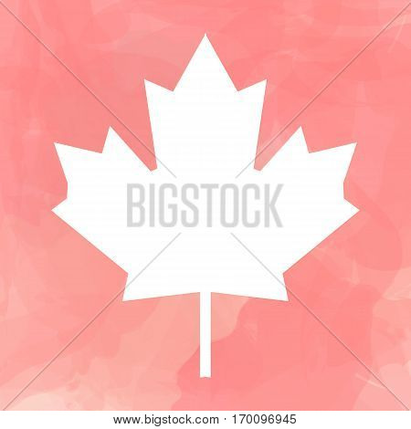 Vector illustration with clipping mask - contour of Canada flag white leaf