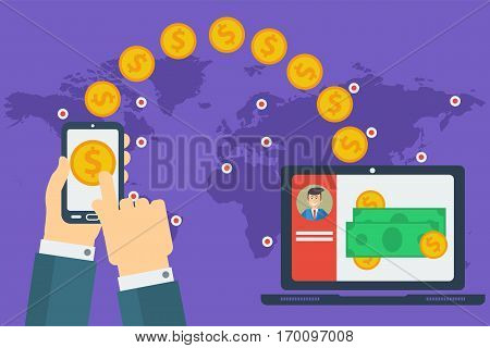 Vector concept of easy worldwide money transfer. Sending yellow coins from smart phone in businessman hands to personal account on computer. Illustration in flat style on purple background