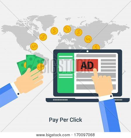 Vector square banner Pay Per Click concept. Hand makes a click on a computer advertising and the other gets to monetize profit in flat style on grey background