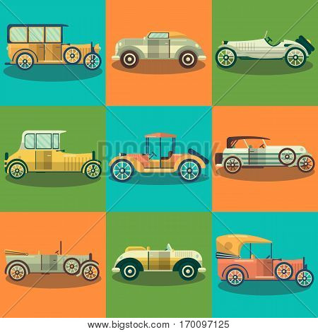 Retro cars and old classic and vintage sport autos vector flat icons. Set of antique and veteran collector retractable hardtop cabriolet and roadster model series