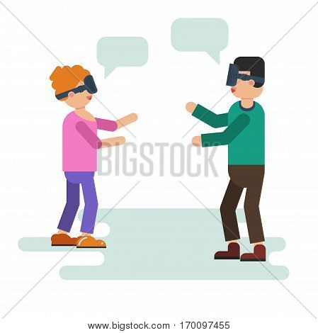 Vector illustration of wife and husband play with VR device. Isolated illustration in flat style