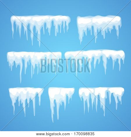 Vector icicle and snow elements clipart. Different snow cap