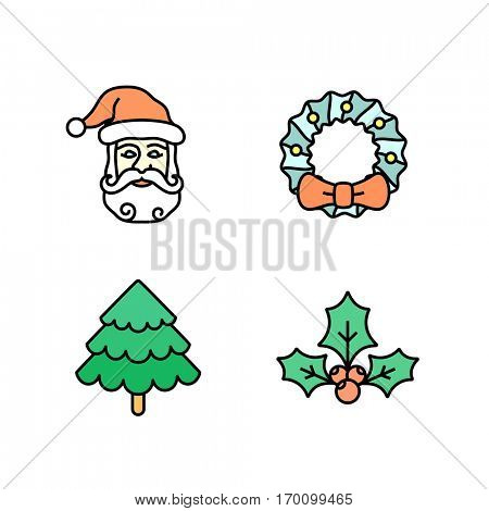 Christmas icon set. Simple outlined Xmas icons. Linear style