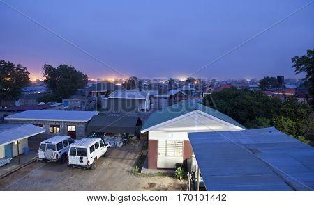Rooftop view of Juba, South Sudan at night