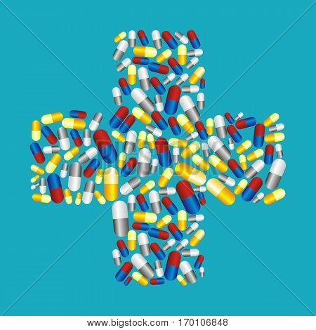Colorful pills capsules icons in cross shape vector background. Medicine health care symbols.