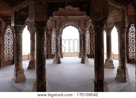 AGRA, INDIA - FEBRUARY 14 : Columns inside palace of Agra Fort, UNESCO World heritage site in Agra. Uttar Pradesh, India on February 14, 2016.