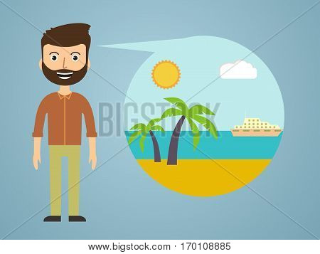 men dreaming about his vacation. vector illustration