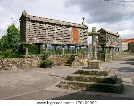 Old granary of cereal to storage cereal called horreo in Spain