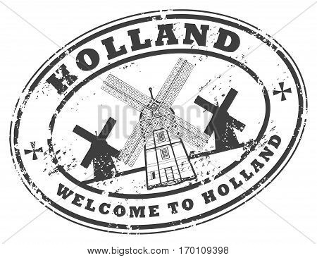 Welcome to Holland grunge rubber stamp, vector illustration