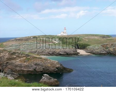 The lighthouse of the tip of the foals to french island called beautiful-island-in-sea
