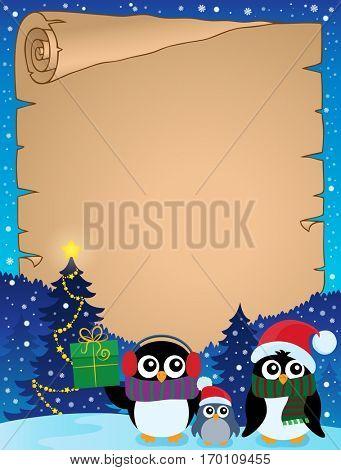 Stylized Christmas penguins parchment 2 - eps10 vector illustration.