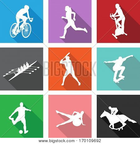 sport silhouettes on flat icons for web or mobile applications - vector