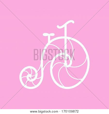 Vector old retro vintage bicycle on pink background