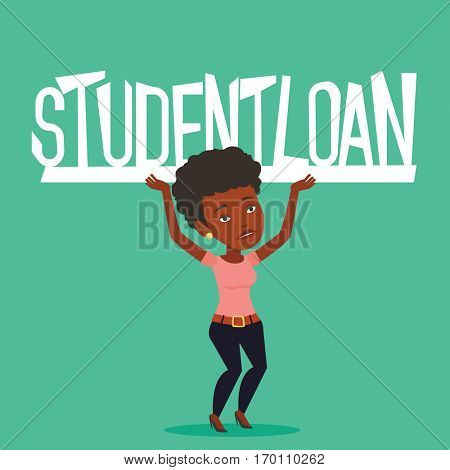 An african-american woman holding a heavy sign of student loan. Tired woman carrying heavy sign - student loan. Concept of the high cost of student loan. Vector flat design illustration. Square layout