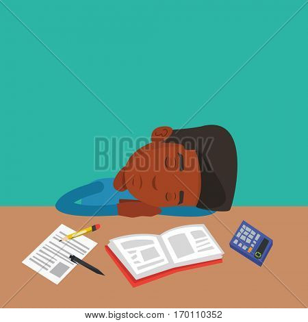 Fatigued african-american student sleeping at the desk with books. Tired student sleeping after learning. Young man sleeping among books at the table. Vector flat design illustration. Square layout.