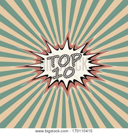 Top ten banner, pop art comic style, top 10 sound effect background vector