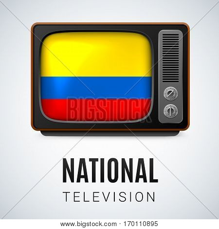 Vintage TV and Flag of Colombia as Symbol National Television. Tele Receiver with Colombian flag