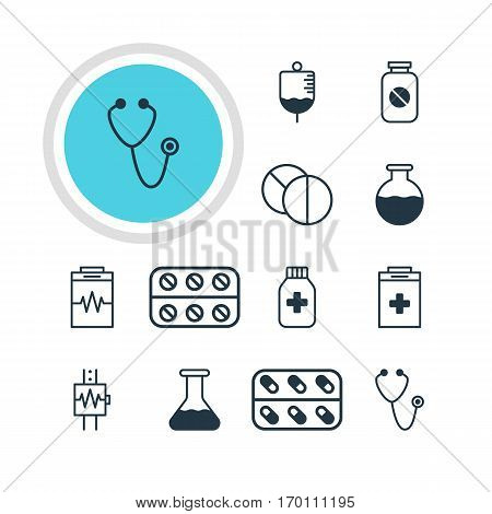 Vector Illustration Of 12 Medical Icons. Editable Pack Of Pills, Medicine Jar, Vial And Other Elements.
