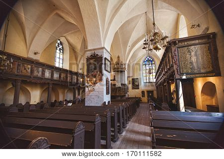 TALLINN ESTONIA - JULE 29 2013: Interior of the Holy Spirit Church Puhavaimu Kirik Tallinn Estonia