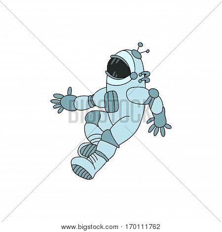 Vector illustration of spaceman. Astronaut fly white background
