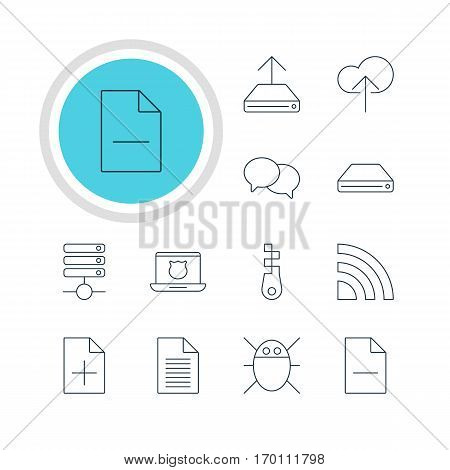 Vector Illustration Of 12 Network Icons. Editable Pack Of Hard Drive Disk, Note, Hdd Sync And Other Elements.
