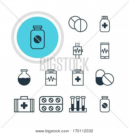Vector Illustration Of 12 Medical Icons. Editable Pack Of Aspirin, Medical Bag, Phone Monitor And Other Elements.