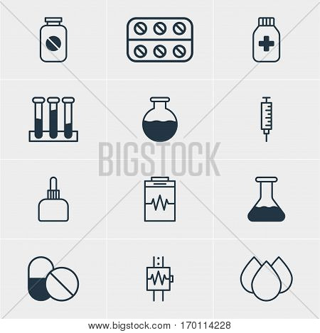 Vector Illustration Of 12 Medicine Icons. Editable Pack Of Trickle, Vaccinator, Experiment Flask And Other Elements.
