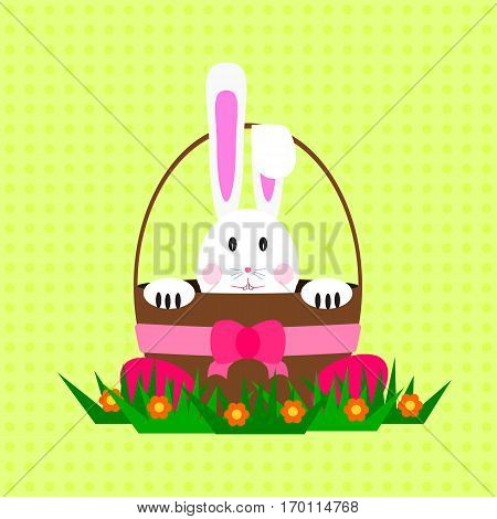 Easter bunny / rabbit inside basket. Bunny is isolated on green dotted background in cartoon vintage style.