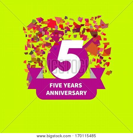 Five year anniversary. Figure ribbon confetti. Vector illustration.