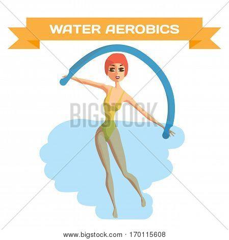 Beautiful girl doing Aqua aerobics. Woman is engaged in gymnastics in the pool. Flat cartoon isolated vector illustration