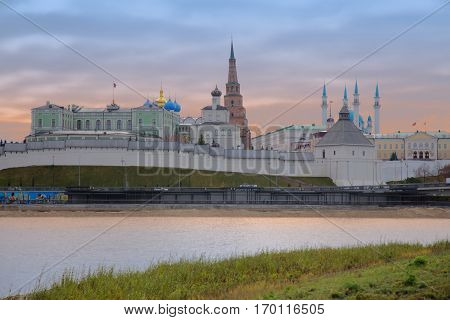 View of the Kazan Kremlin with Presidential Palace Annunciation Cathedral Soyembika Tower and Qolsharif Mosque from Kazanka River Kazan Republic of Tatarstan Russia.