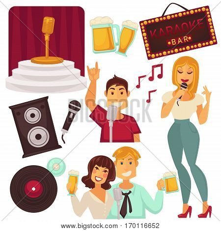 Karaoke bar elements set with singing people. Entertainment in place with microphone on stage, music column, round record and beer signs and smiling boys and girls. Karaoke amusement poster.