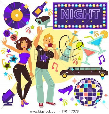 Night club life entertainment party set with boy doing selfie and dancing girl. Bright disco ball, black limousine, glasses with cocktails, sunglasses in round and star shapes, video camera.