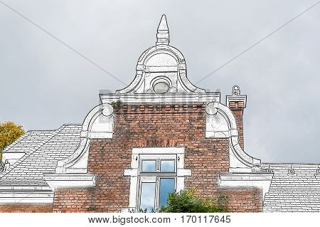 Drawing gable view of an old villa from the start-up period with various historicizing styles.