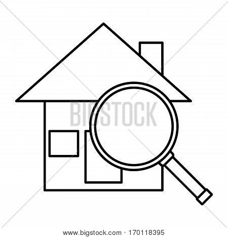 Simple thin line seaching house icon vector