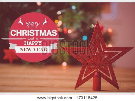 Digitally composite image of merry christmas and happy new year wishes with star decoration