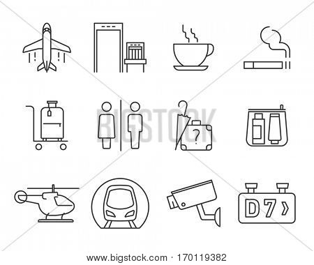 Airport navigation thin icons set // Black & White