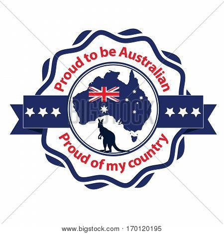 Proud to be Australian, Proud of my country - grunge printable stamp / label / sticker with the australian map and flag and a kangaroo. Print colors (cmyk) used