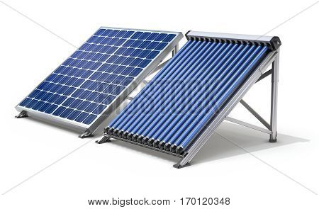 Solar panel generator and solar heater on white background - 3D illustration