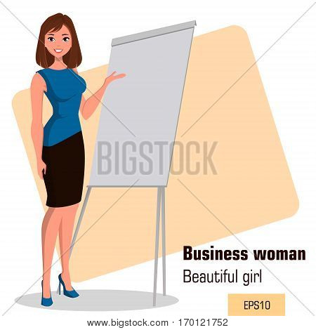 Young cartoon businesswoman standing near office board making presentation. Beautiful girl presenting business plan startup. Fashionable modern lady. Vector illustration. EPS10
