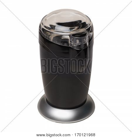 Black electric coffee grinder with a closed transparent cover isolated on white background