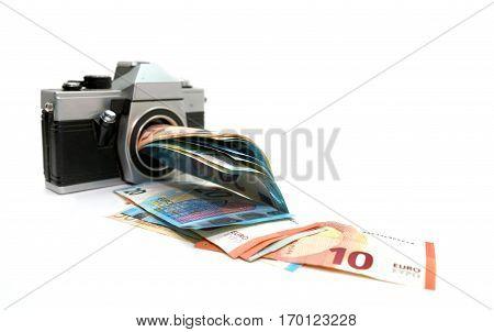 microstock money making photo camera over white