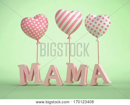 3D Mama Text with balloons in shape of heart on green background. 3D rendering