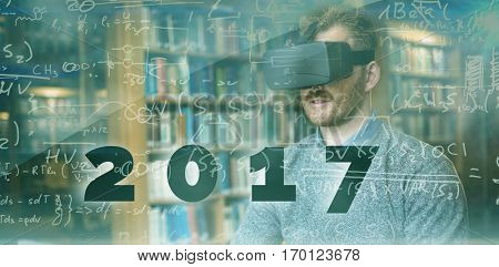 Digital image of new year 2017 against math equation background